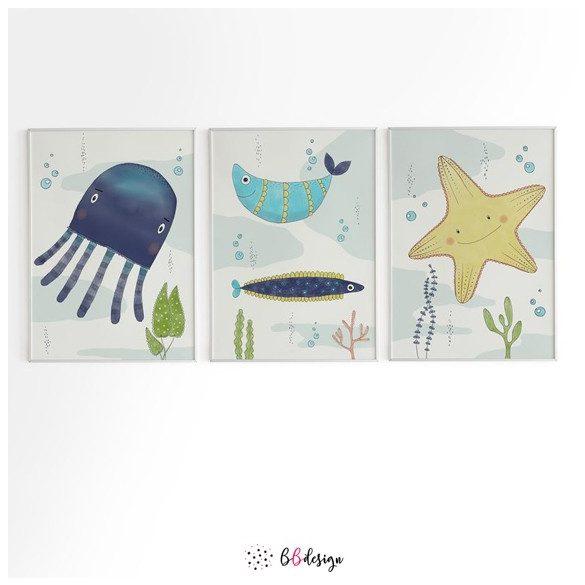 A tenger lakói szett medúza hal tengeri csillag