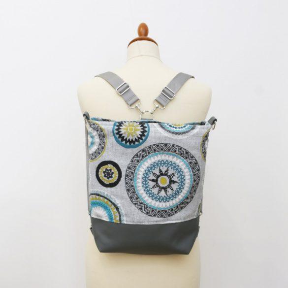 Madison 3in1 sötétszürke-türkizkék mandalás táska