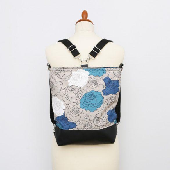 Linda 3in1 fekete-kék rózsás táska