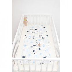 Kék koronás ágyneműszett babának