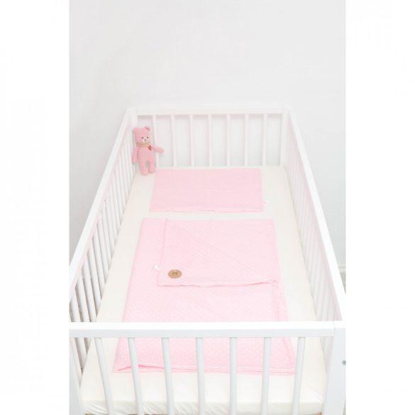 Rózsaszín alapon fehér pöttyös ágyneműszett babának