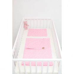Rózsaszín alapon masnis ágyneműszett babának