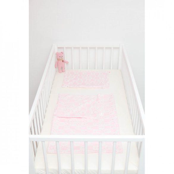 Rózsaszín kockás-állatos ágyneműszett babának