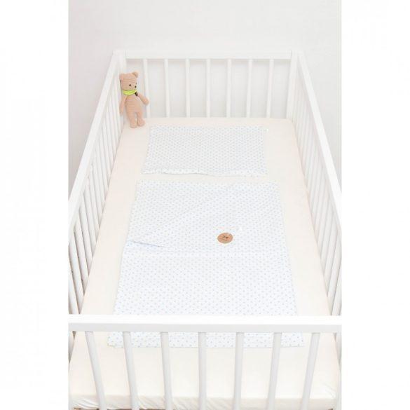 Fehér alapon világoskék pöttyös ágyneműszett babának