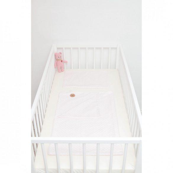 Fehér alapon rózsaszín pöttyös ágyneműszett babának