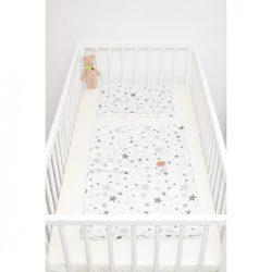 Fehér alapon szürke csillagos ágyneműszett babának