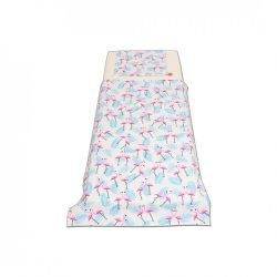 Fehér alapon pink flamingós pálma leveles ágyneműszett kisgyermeknek