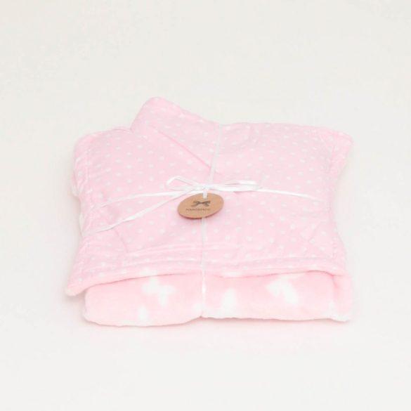 Rózsaszín pöttyös wellsoft-pamut babatakaró