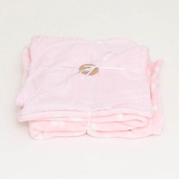 Rózsaszín-tűpöttyös wellsoft-pamut babatakaró