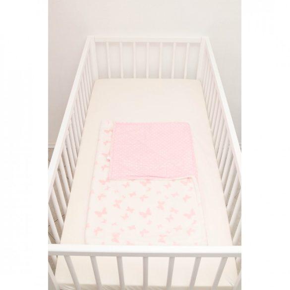 Rózsaszín fehér pillangós-pöttyös wellsoft-pamut babatakaró