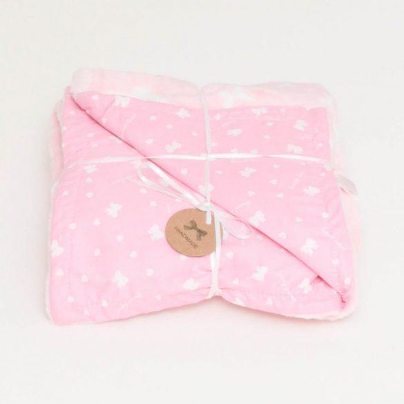 Rózsaszín fehér pillangós-masnis wellsoft-pamut babatakaró