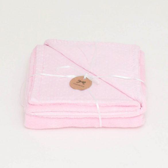 Rózsaszín-fehér csillagos wellsoft-pamut babatakaró