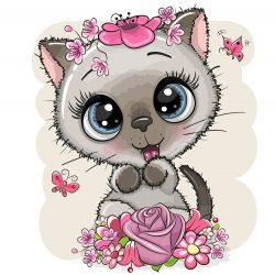 Szürke cica lány 1 minta