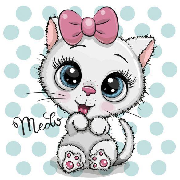 Fehér cica lány 1 minta
