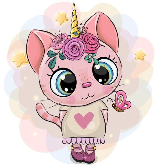 Rózsaszín cica lány 1 minta