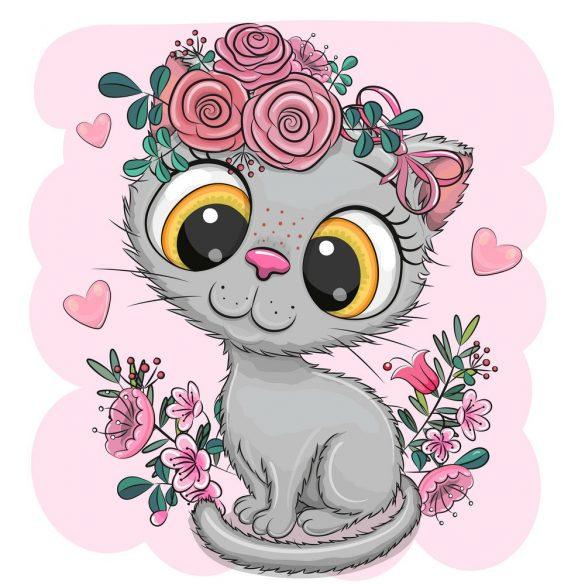 Ezüst cica lány 1 minta