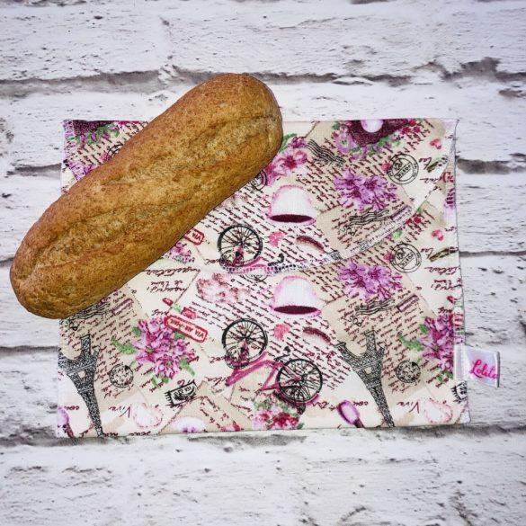 Szendvicstasak maxi méretben barna-rózsaszín Párizs